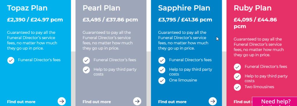Safehands Funeral Plan Options